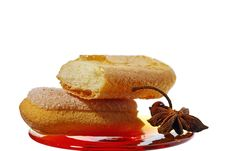 Biscuit Cookies On Red Plate Stock Photos