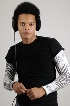 Male Model With Headphones Stock Images