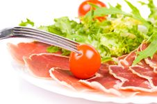 Free Gammon With Salad And Cherry Tomatoes Stock Photos - 8972943