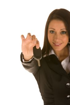 Free Young Businesswoman Holding Key Royalty Free Stock Photo - 8973485