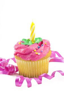 Pink Cupcake With One Candle Stock Images