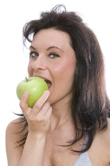 Free Woman Eating A Granny Smith Apple Stock Images - 8976134