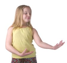 Free Girl Dancing With Hand Movements Royalty Free Stock Image - 8976686