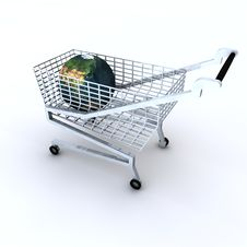 Shopping Cart With Globe In The Trolley Royalty Free Stock Images