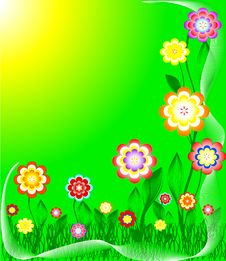 Free Grass And Colorful Flowers Royalty Free Stock Photos - 8978538