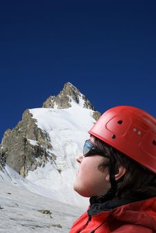 Free Climbers Looks At The Top Of Mountain Royalty Free Stock Photo - 8978725