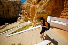 Free Woman At Stair To Caves Royalty Free Stock Photo - 8978905