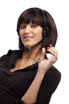 Free Beautiful Brunette Woman With Headphone Royalty Free Stock Photos - 8978928