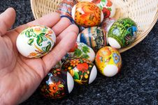 An Easter Painting Egg Is In The Hand Of Man Stock Image