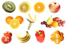 Free Set Of Fruits And Vegetables Royalty Free Stock Image - 8979336