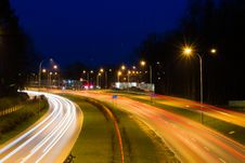 Free Blur Of Car Lights On Night Freeway Royalty Free Stock Image - 89742866