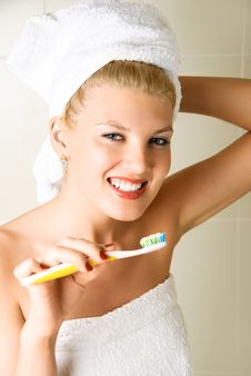 Free Happy Girl Brushing Her Teeth Stock Images - 8980544