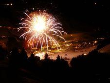 Free Happy New Year Firework Winter Landscape Stock Image - 8980921