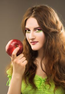 Free Portrait Of Young Girl Witn Apple Stock Photos - 8981053