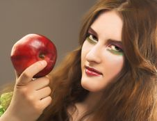 Free Portrait Of Young Girl With Red Apple Royalty Free Stock Photo - 8981055