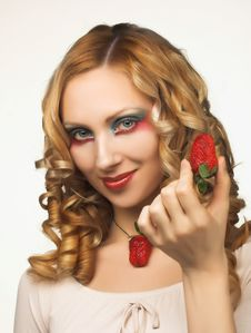 Free Young Blonde With Fruits Stock Photography - 8981072