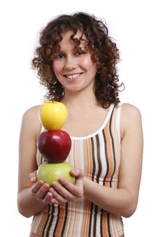 Free Girl With Apples. Stock Photo - 8981420
