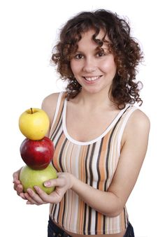 Free Woman With Apples. Royalty Free Stock Photos - 8981428