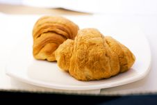 Free Two Croissant On White Plate Stock Photo - 8983280