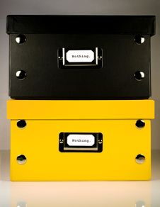 Black And Yellow Boxes With Nothing. Label Stock Image