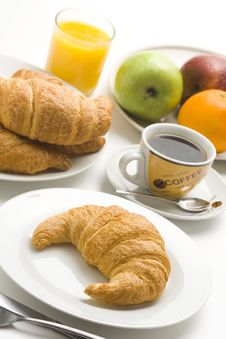 Free Continental Breakfast Of Coffee And Croissants Stock Photo - 8984000