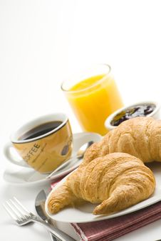 Free Continental Breakfast Of Coffee And Croissants Royalty Free Stock Photos - 8984048