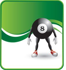 Free Eight Ball Cartoon Character Royalty Free Stock Photography - 8984287