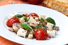 Mozzarella With Mushrooms , Mint Ant Baked Cherry Stock Photography