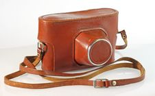 Old  Photo Camera Leather Case Royalty Free Stock Photography