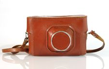 Old  Photo Camera Leather Case Stock Image
