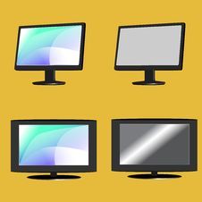 LCD Tv And Monitor Set Stock Images