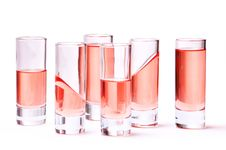 Thin Glasses With Pink Liquid Stock Photography