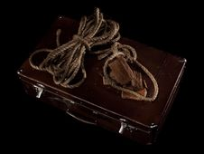 Rope And Soap Bar On Suitcase Stock Photos
