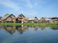 Village Huts In The Lake Stock Photo