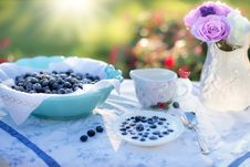 Free Bowl Of Blue Berries On A Table In A Garden On A Sunny Day Stock Image - 89805181