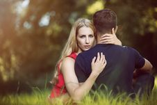 Free Couple Hugging In Park Royalty Free Stock Photo - 89891625