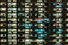 Free Apartment Block Illuminated At Night  Royalty Free Stock Photography - 89892297