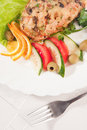 Free Fork With Backed Meat And Salad Royalty Free Stock Image - 8993096