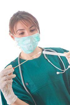 Female Doctor Taking Samples Stock Images