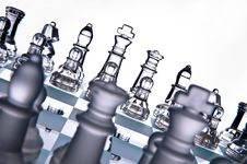 Transparent Chess Board White Background Stock Photos