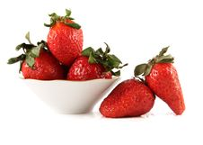 Free Fresh Strawberry In A White Saucer And Near It Stock Image - 8991061