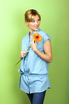 Free Smiling Woman With A Flower Royalty Free Stock Photos - 8991198