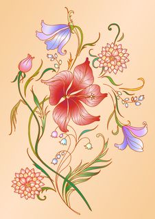 Colored Floral Elements Royalty Free Stock Photo
