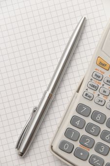 Free Elegant Silver Pen And Scientific Calculator Royalty Free Stock Photo - 8991545