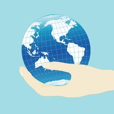 Hand With Globe Stock Photography