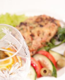 Goblet With Backed Meat And Vegetable Salad Royalty Free Stock Photo