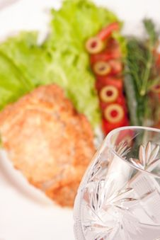 Goblet With Backed Meat And Green Salad Stock Image