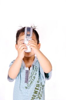 Free Boy Taking Picture With Cell Phone Royalty Free Stock Image - 8993166