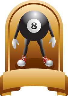 Free Eight Ball Character In Trophy Royalty Free Stock Images - 8993609