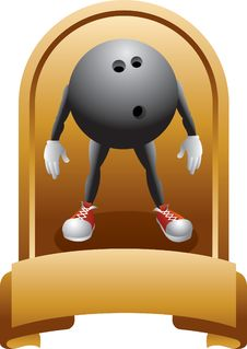 Free Trophy Of A Bowling Ball Cartoon Character Stock Image - 8993631
